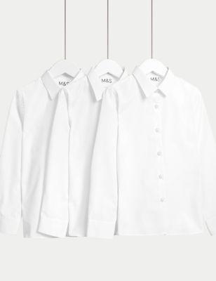 3pk Girls' Easy Iron School Shirts (2-16 Yrs)