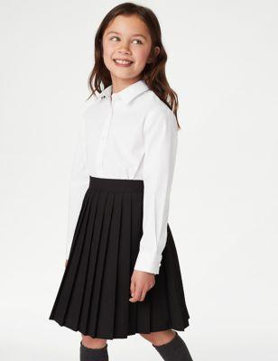 5pk Girls' Regular Fit Easy to Iron Shirts (2-18 Yrs)