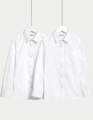 2pk Girls' Slim Fit Non-Iron School Shirts (2-18 Yrs)