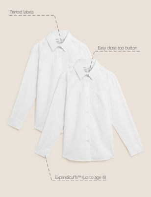 2pk Girls' Slim Fit Pure Cotton School Shirts (2-18 Yrs)