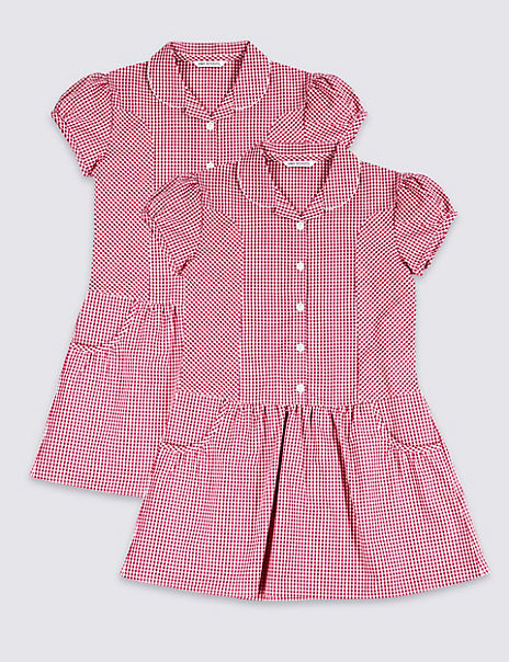 2 Pack Girls' Plus Fit Cotton Rich Dress