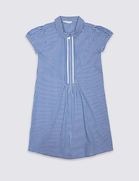 Girls' Pure Cotton Gingham Zip Front Dress