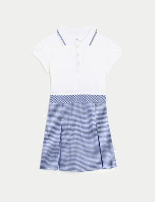 Girls' 2 in 1 Gingham Pleated School Dress (2-14 Yrs)