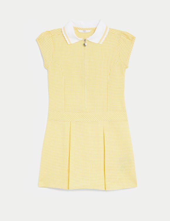 Girls' Gingham Pleated School Dress (2-14 Yrs)