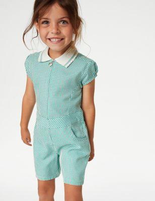Girls' Gingham School Playsuit (2-14 Yrs)