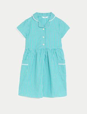 Girls' Pure Cotton Gingham School Dress (2-14 Yrs)