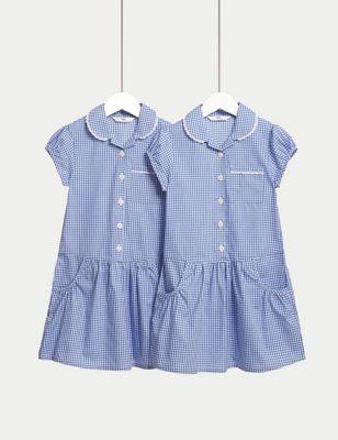 2pk Girls' Cotton Plus Fit School Dresses