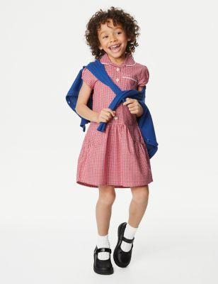2pk Girls' Cotton Gingham School Dresses (2-14 Yrs)