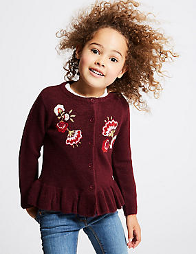 Frill Embroidered Cardigan (3 Months - 6 Years), RED, catlanding