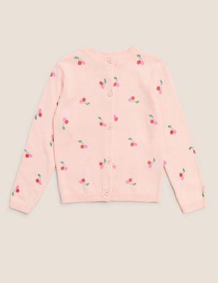Pure Cotton Cherry Print Cardigan (2-7 Yrs)