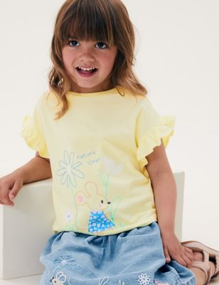 Pure Cotton Mouse Embroidered T-Shirt (2-7 Yrs)