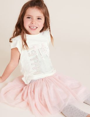 Pure Cotton Ballet All Day Slogan T-Shirt (2-7 Yrs)