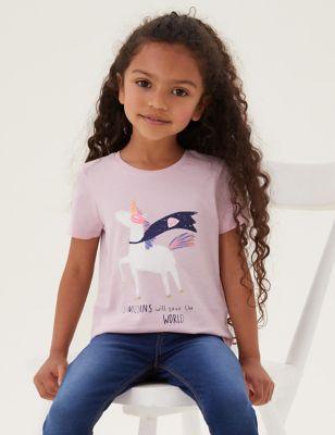 Cotton Unicorn Hero Print T-Shirt (2-7 Yrs)