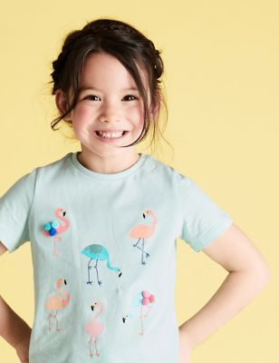 Pure Cotton Flamingo T-shirt (2-7 Yrs)