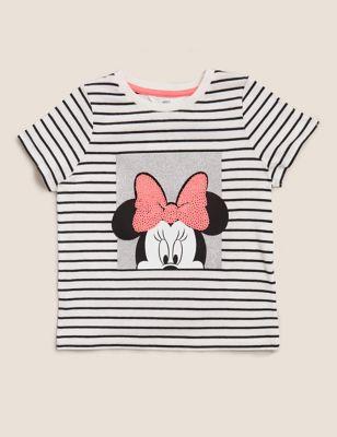 Pure Cotton Striped Minnie™ Sequin T-Shirt (2-7 Yrs)