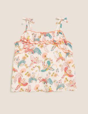 Cotton Bird Print Cami Top (2-7 Yrs)
