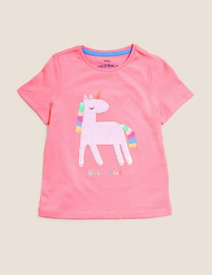 Pure Cotton Sequin Unicorn T-Shirt (2-7 Yrs)