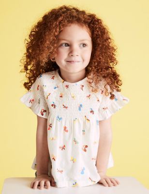 Cotton Butterfly Print Top (2-7 Yrs)