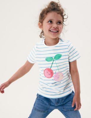 Pure Cotton Cherry Striped T-Shirt (2-7 Yrs)