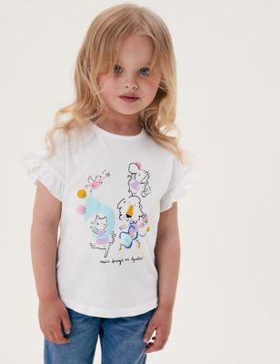 Pure Cotton Music Print T-Shirt (2-7 Yrs)