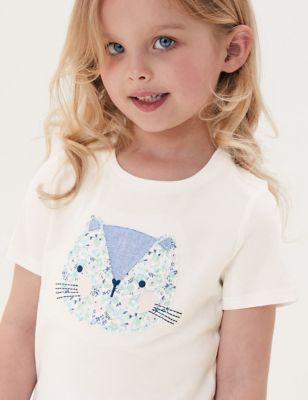 3pk Pure Cotton Cat T-Shirts (2-7 Yrs)