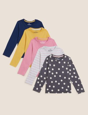 5pk Pure Cotton Printed Tops (2-7 Yrs)