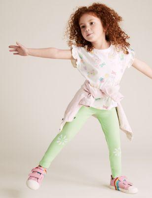 3pk Cotton Patterned Leggings (2-7 Yrs)
