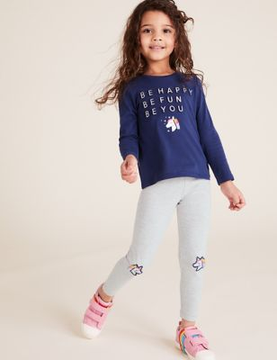 3pk Cotton Unicorn Leggings (2-7 Yrs)