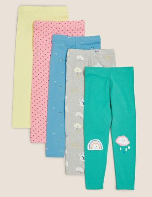 5pk Cotton Multi Print Leggings (2-7 Yrs)