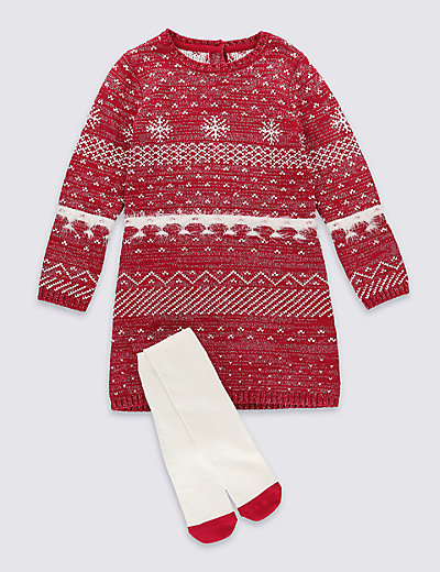Fairisle Dress with Tights (1-7 Years) | M&S