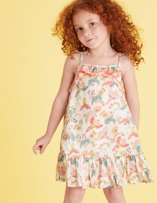 Cotton Bird Print Dress (2-7 Yrs)