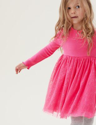 Cotton Glitter Tulle Dress (2-7 Yrs)