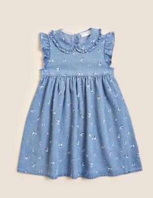 Denim Floral Print Dress (2-7 Yrs)