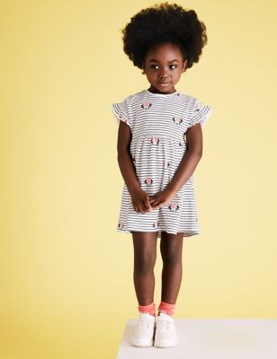 Pure Cotton Minnie™ Striped Dress  (2-7 Yrs)