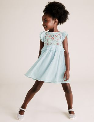 Embroidered Floral Chiffon Dress (2-7 Yrs)