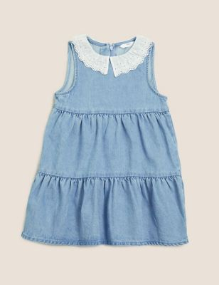 Pure Cotton Denim Tiered Dress (2-7 Yrs)