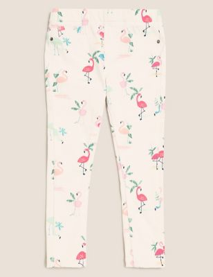 Cotton Knitted Flamingo Print Jeggings (2-7 Yrs)