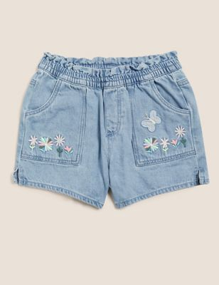 Denim Floral Embroidered Shorts (2-7 Yrs)