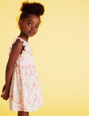 Pure Cotton Rainbow Print Dress (2-7 Yrs)