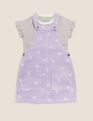 2pc Cotton Floral Pinafore Outfit (2-7 Yrs)