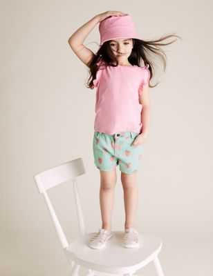 Denim Strawberry Print Shorts (2-7 Yrs)