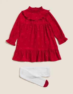 Pure Cotton Cord Spot Dress and Tights (2-7 Yrs)