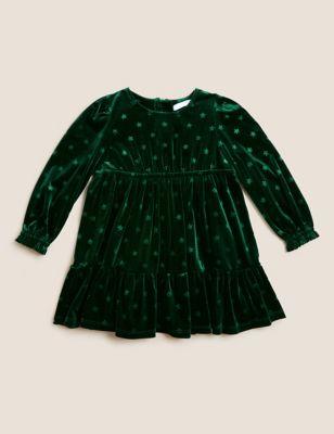 Velvet Star Print Dress (2-7 Yrs)