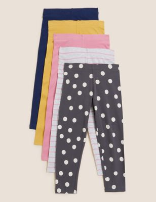 5pk Cotton Printed Leggings (2-7 Yrs)