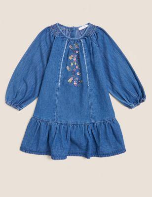 Denim Floral Embroidered Dress (2-7 Yrs)