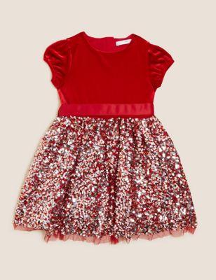 Velvet Sequin Dress (2-7 Yrs)