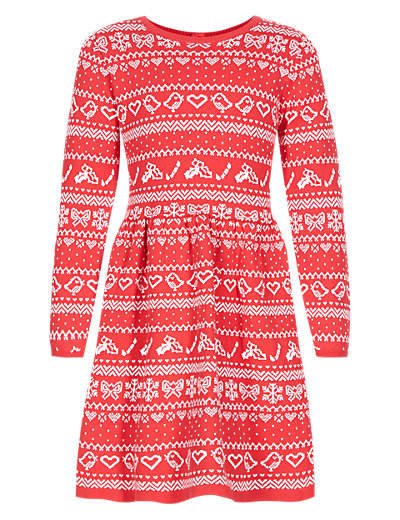 Pure Cotton Fair Isle Knitted Dress (1-7 Years) | M&S