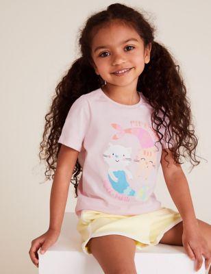 Pure Cotton Mer-Kitten Slogan T-Shirt (2-7 Yrs)