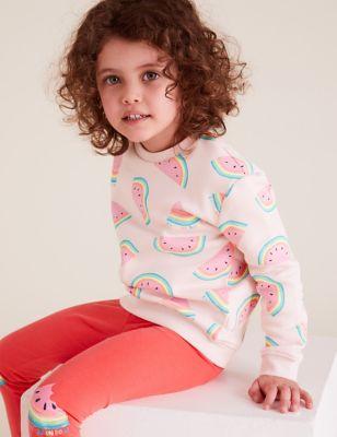 Organic Cotton Melon Print Sweatshirt (2-7 Yrs)