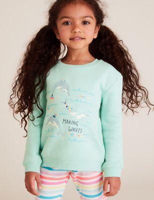 Cotton Dolphin Print Sweatshirt (2-7 Yrs)